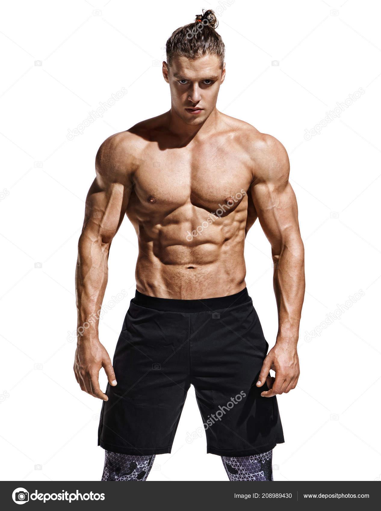 Sportlicher Mann Mit Perfekten Korper Nach Dem Training