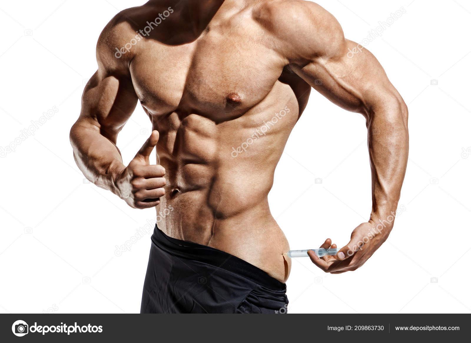 Bodybuilder Iniezione Vitamine Foto Uomo Sportivo Con Fisico