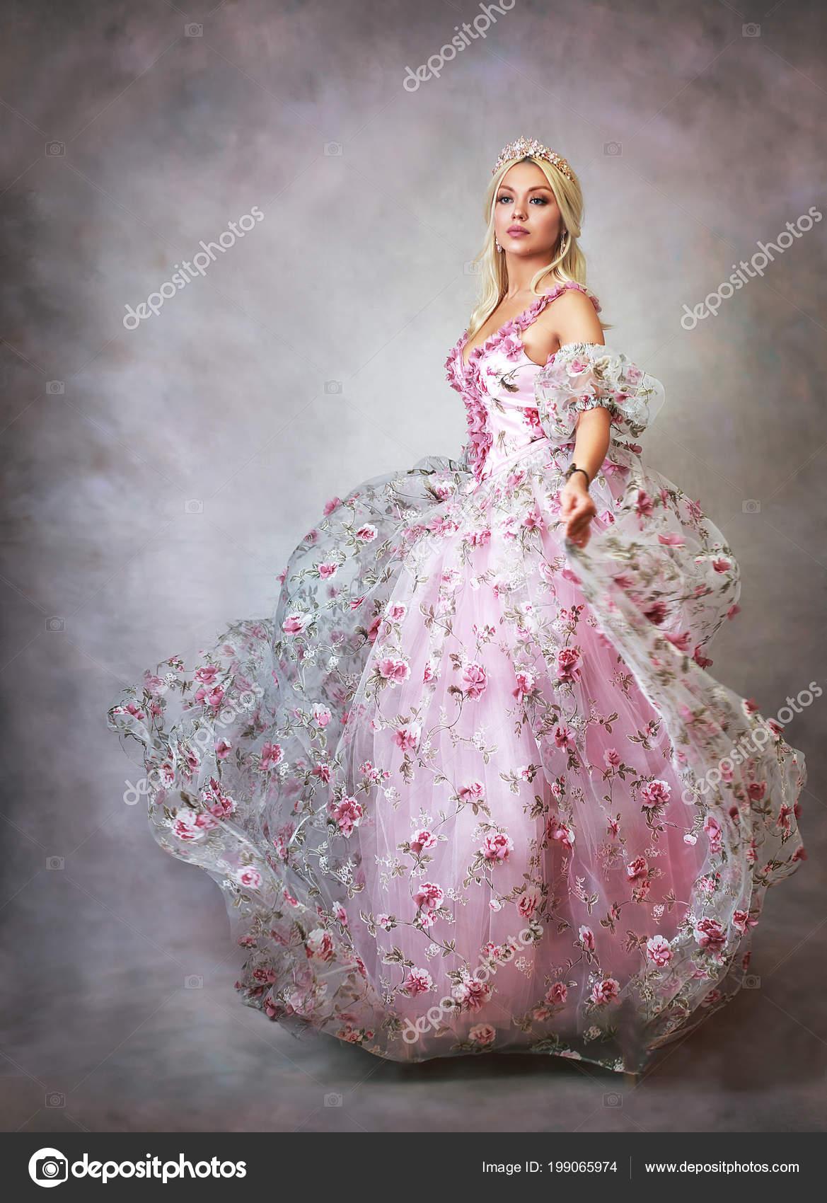 Vestido Princesa Bella Vestido Rosa Con Encaje Rosas Foto
