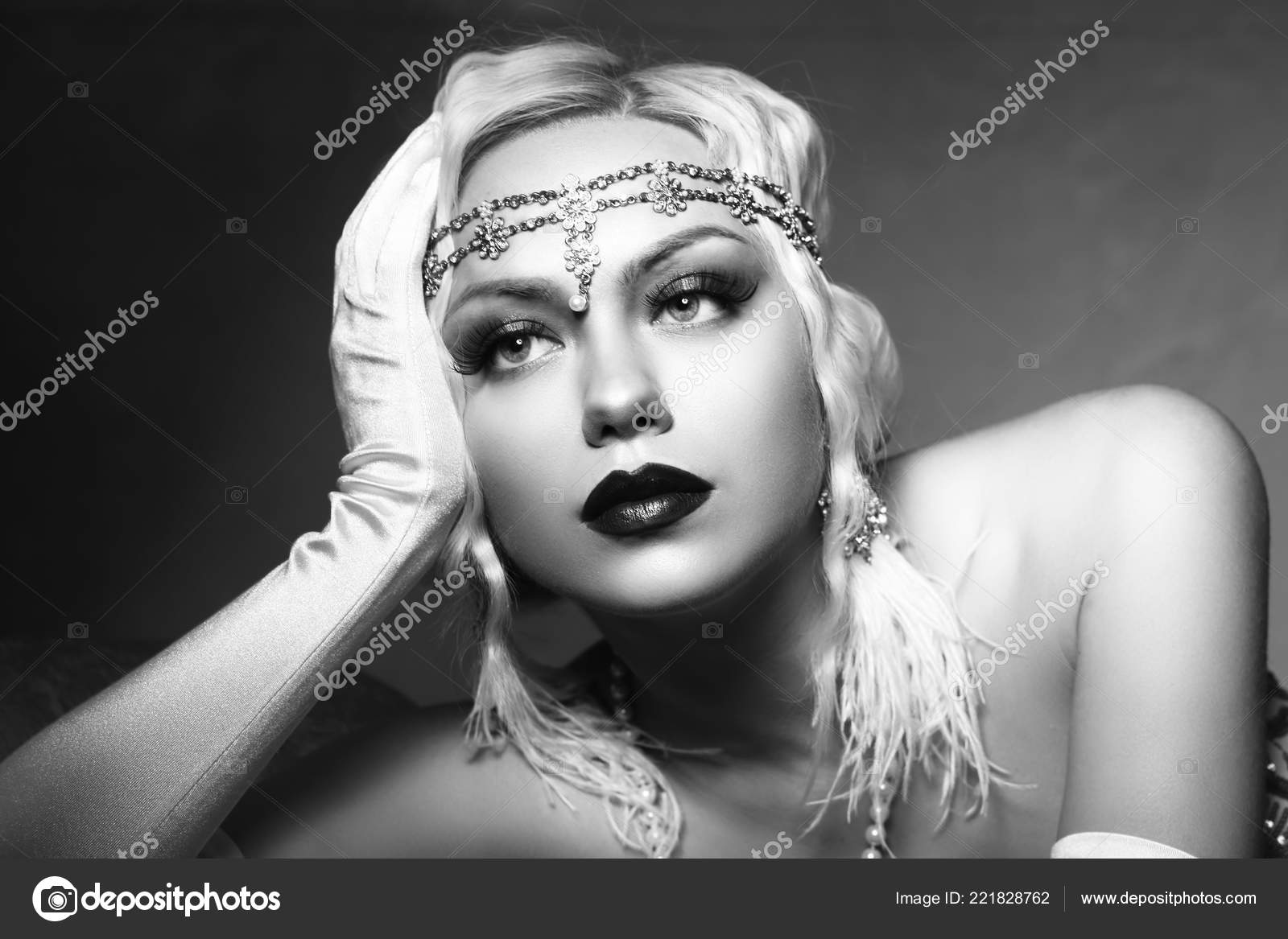 Beautiful Woman Retro Flapper Style Woman Black White Foto Roaring