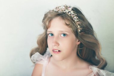 beautiful little princess in rosy pink gown dress and crystal crown