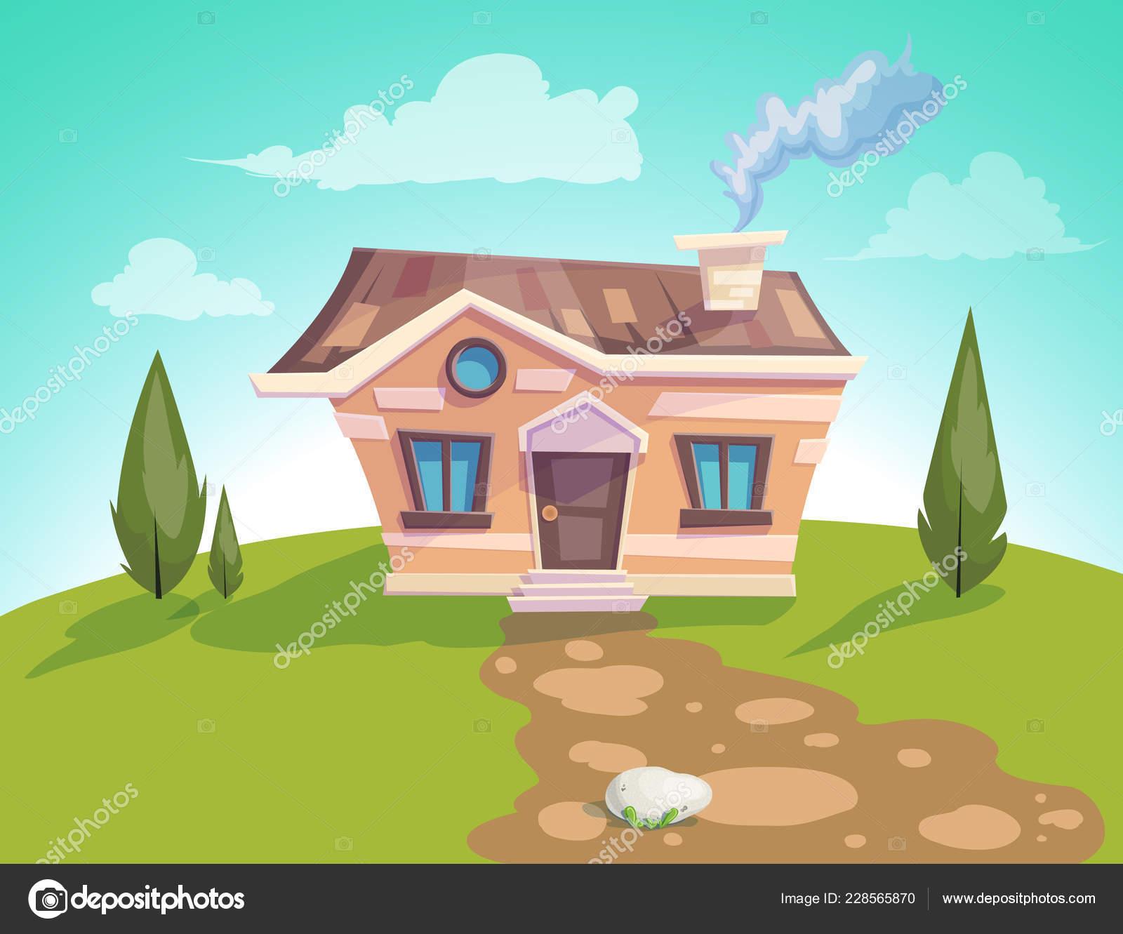 Façade de maison vector illustration dune maison de campagne de dessin animé en saison estivale beau fond de ciel brillant illustration de stock