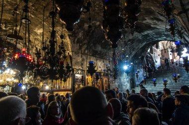 Kudüs, İsrail, 30 Ocak 2020: Kudüs 'teki Zeytin Dağı eteğinde Aziz Meryem Kilisesi' nin iç kısmı