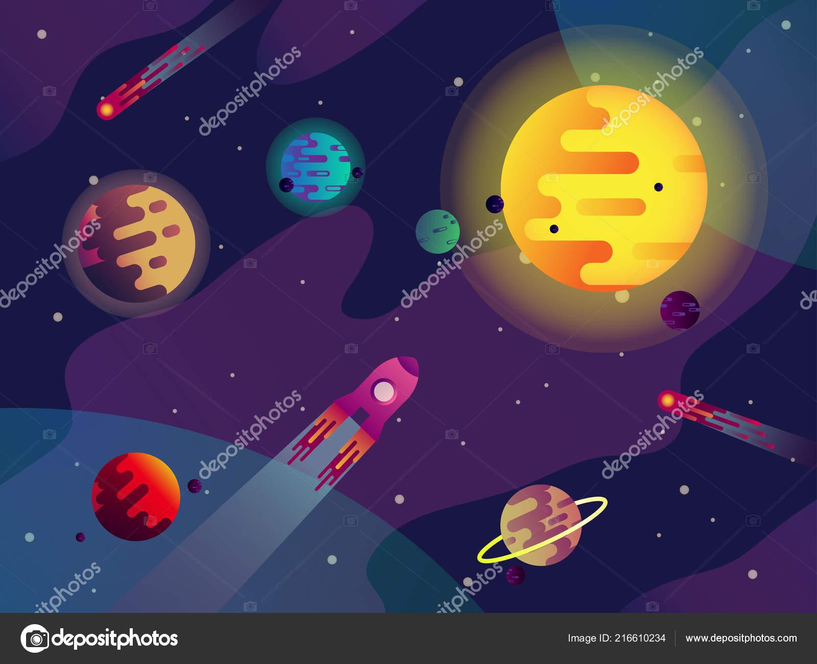 Nave Espacial, Galaxia O Cosmos, Sol, Planetas, Cometas