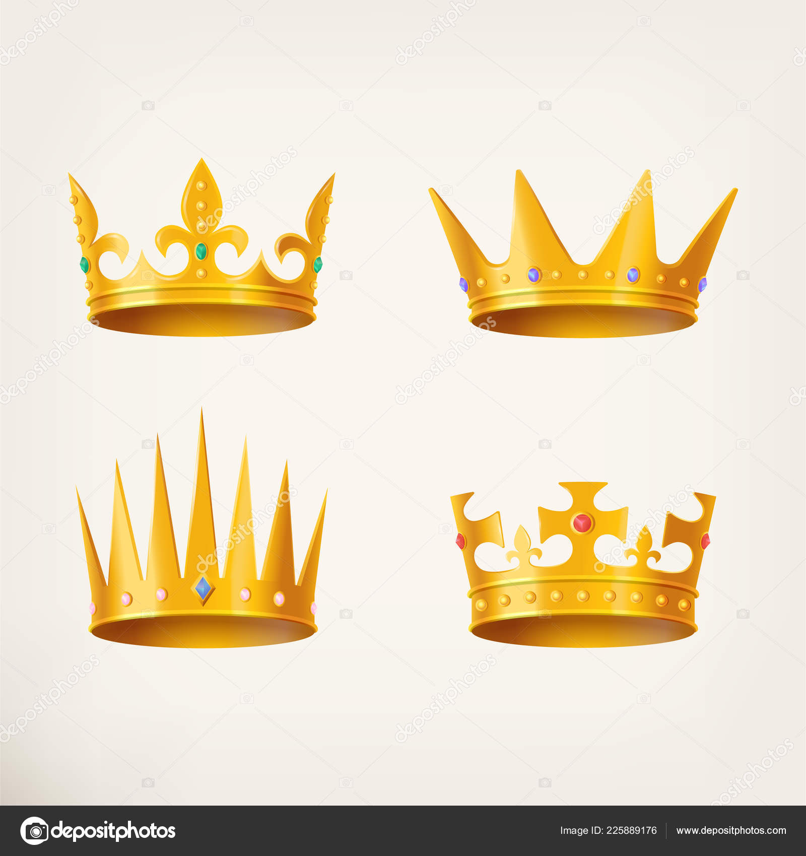 Crowns For King Or Queen 3d Royal Headdress Stock Vector