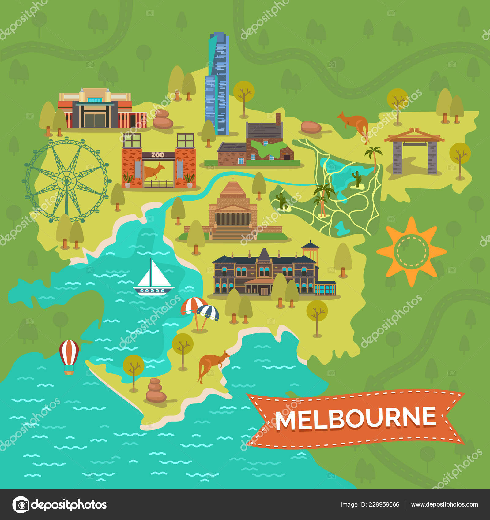 Melbourne Australia Map With Landmarks Sightseeing Stock Vector