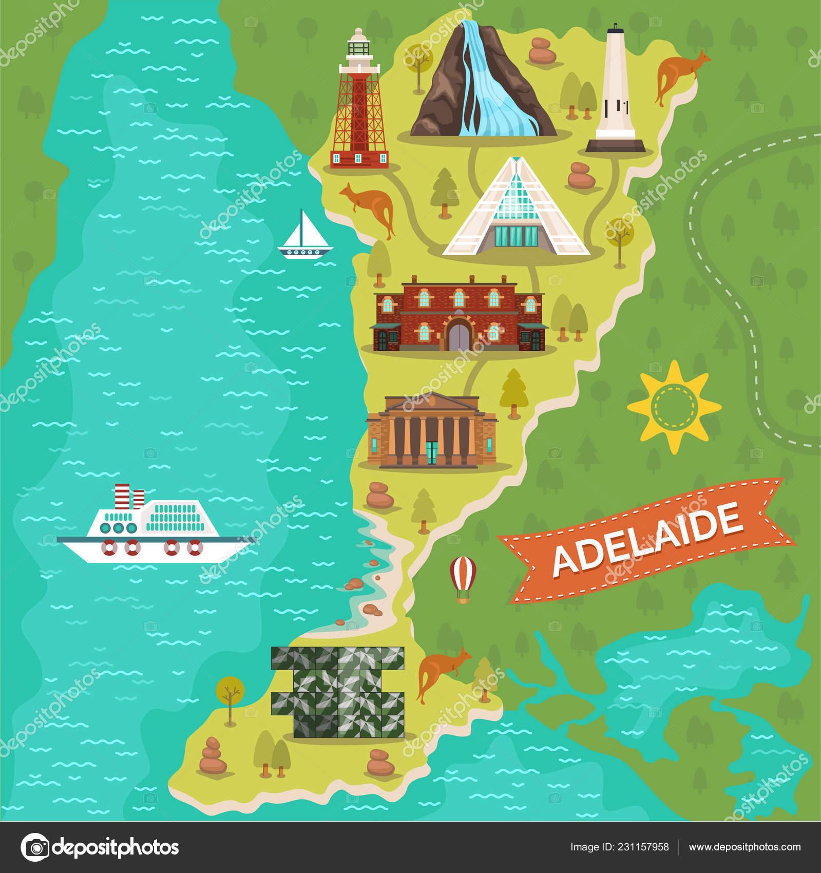 Map Of Australia Landmarks.Adelaide Landmarks On Travel Map Australian City Stock Vector