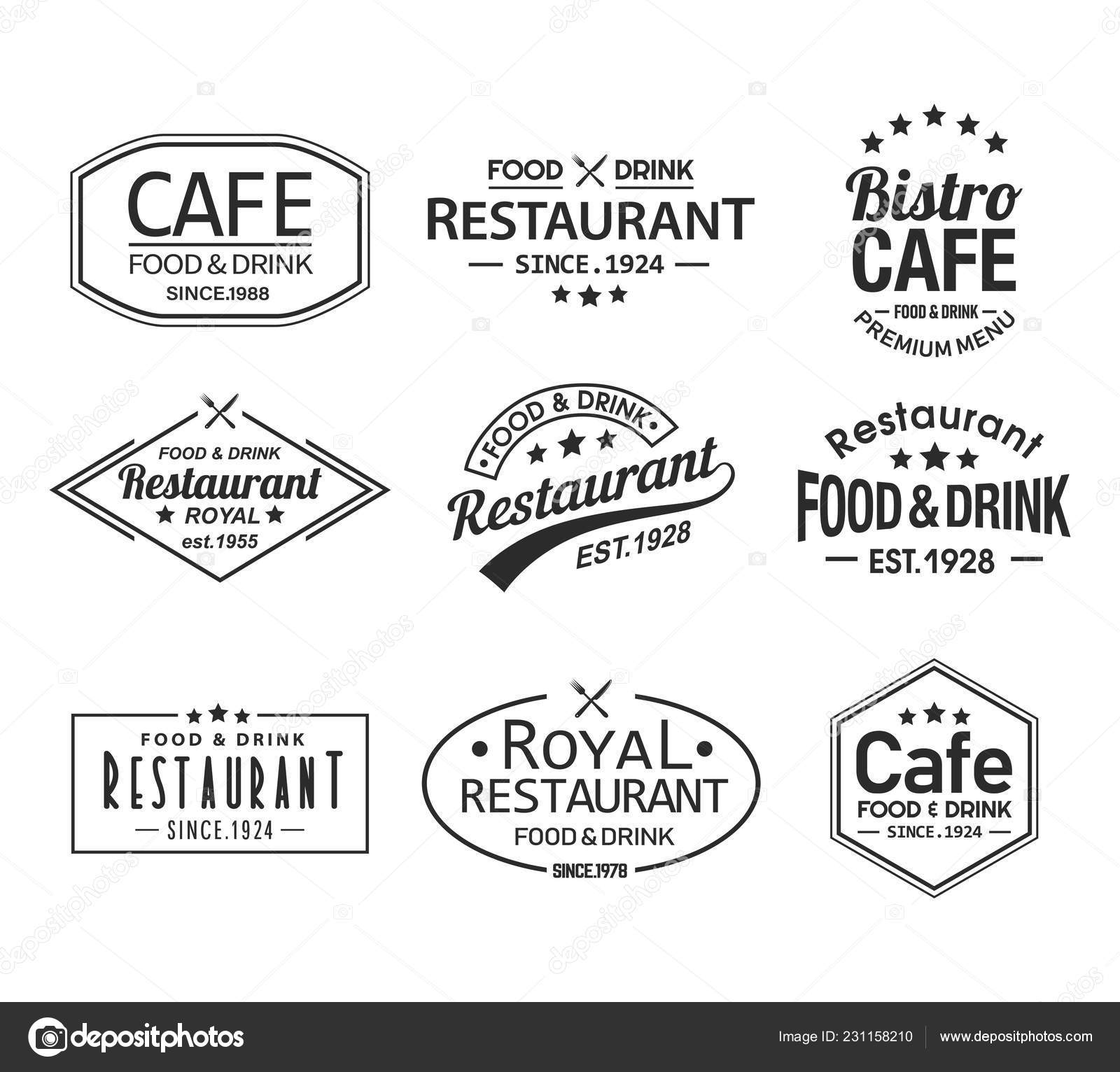 Set of isolated cafe and restaurant logos — Stock Vector