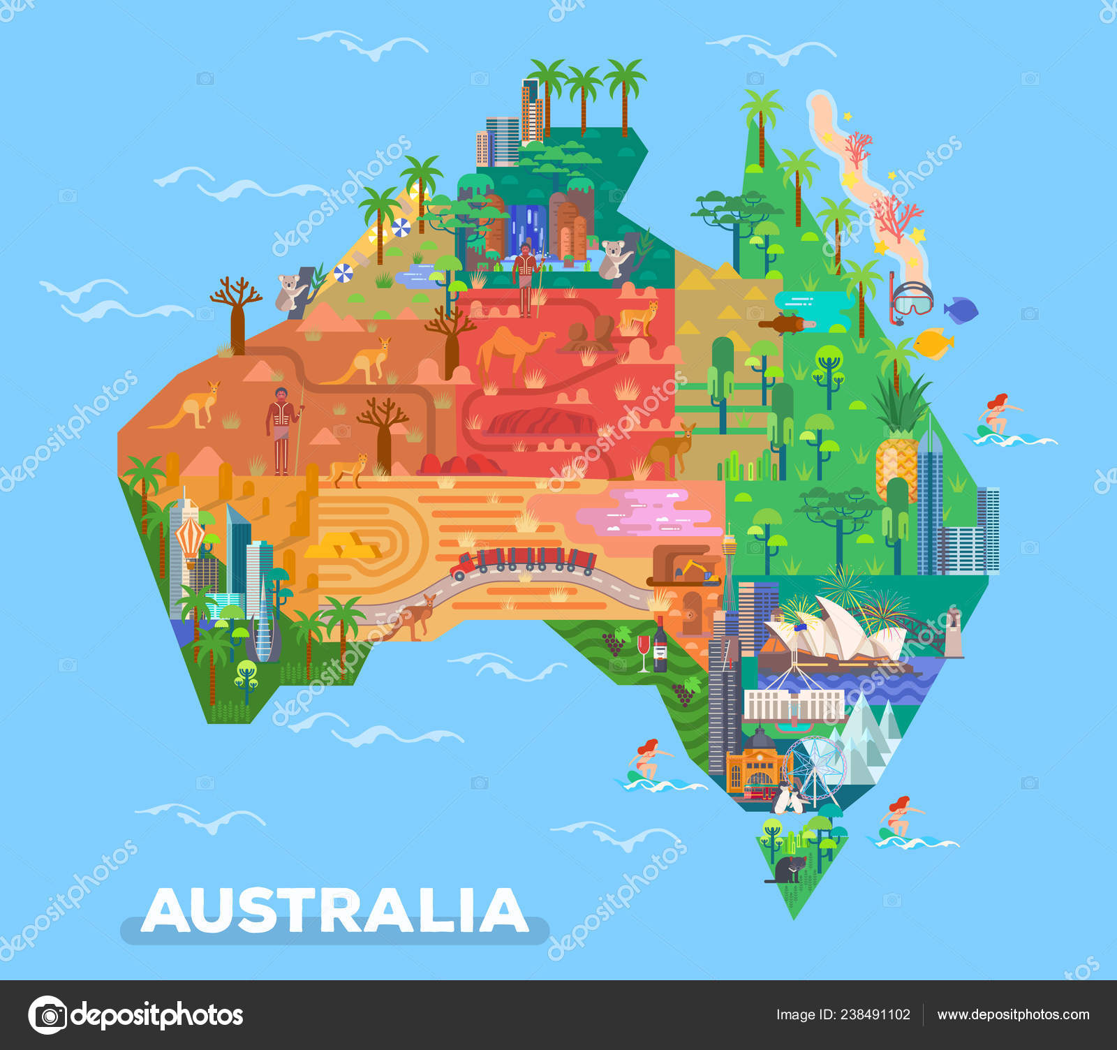 Map Of Australia Desert.Map Of Australia With Landmarks Of Architecture Stock Vector