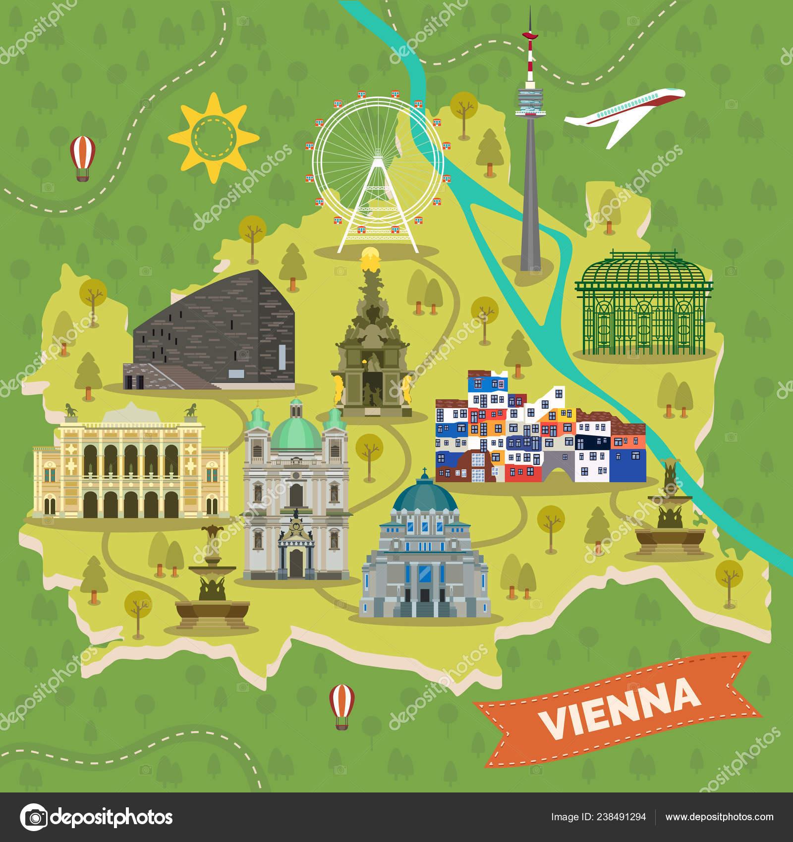 Austria Cartina Turistica.Mappa Turistica Di Vienna In Austria Con Luoghi D Interesse
