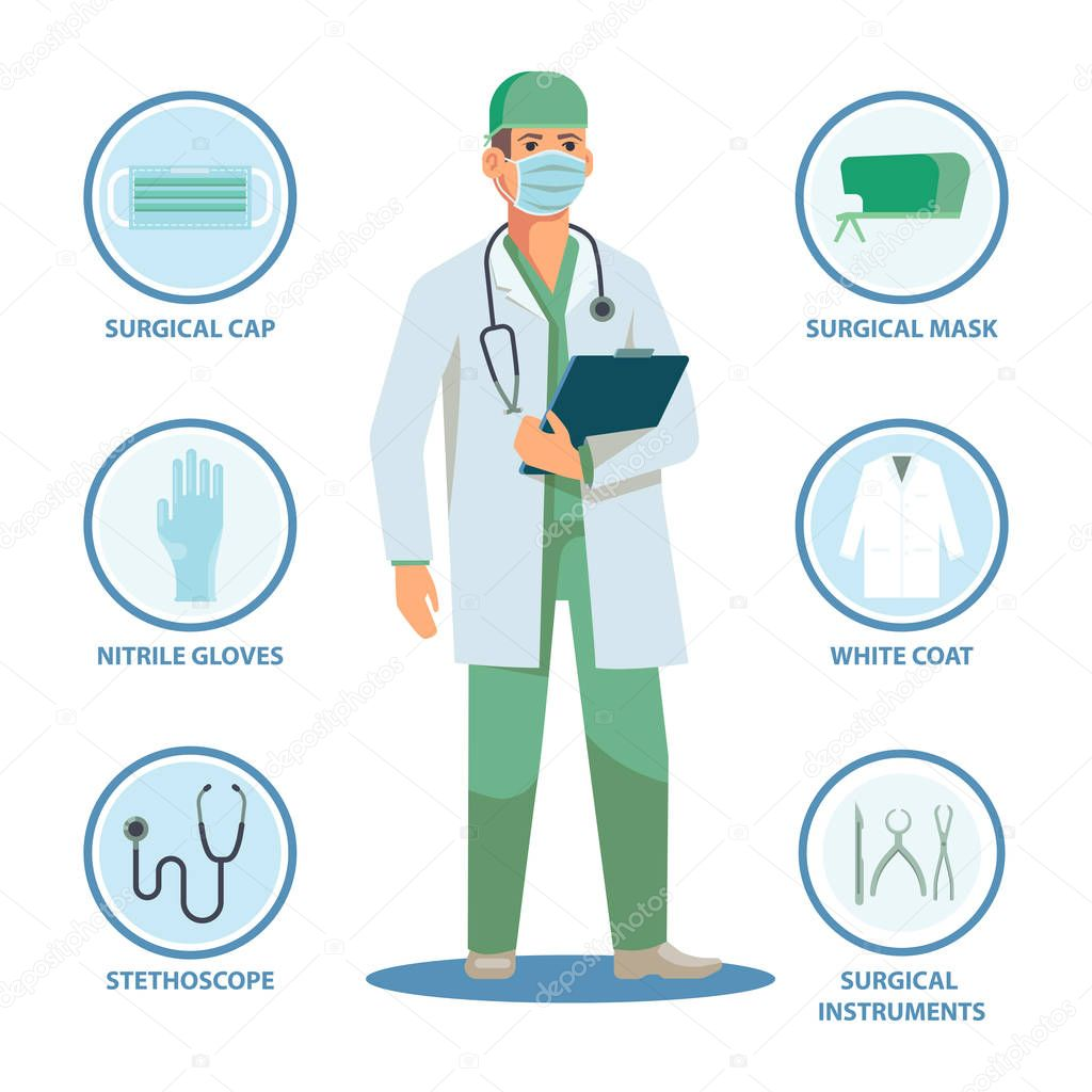 Surgical Doctor With Isolated Items Or Equipment Surgeon Man And Cap Mask Nitrile Gloves And White Coat Stethoscope And Instruments Notes Male In Professional Uniform Healthcare Medical Theme Premium Vector In