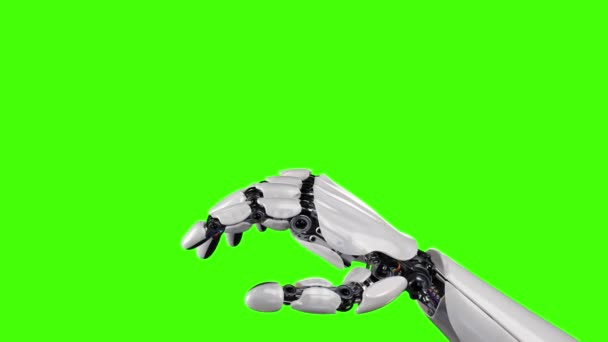 Robot Hand and Butterfly on a Green Background. Beautiful 3d animation. 4K