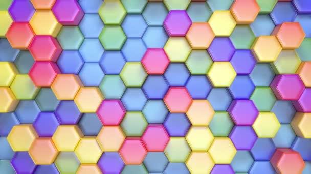 wunderschöner hexagonaler mehrfarbiger Hintergrund, nahtlose 3D-Animation mit Looping, 4k. Suche nach mehr Optionen in meinem Portfolio