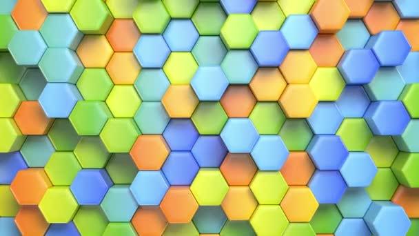 abstrakte hexagonale mehrfarbige Hintergrund, nahtlose looping 3D-Animation, 4k. Suche nach mehr Optionen in meinem Portfolio