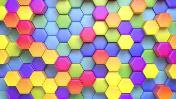 Krásné abstraktní šestihranný vícebarevné pozadí, bezešvé, opakování animace 3d, 4k. Hledat další možnosti v mém portfoliu