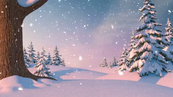 Vánoční pozadí, zimní les. Krásné 3d animace, bezešvé smyčka, 4k