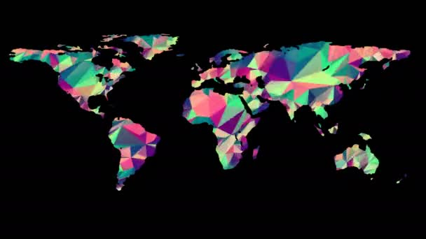 Polygonal Multicolored Earth Map. Seamless Looped Animation with Alpha-Matte. 4K