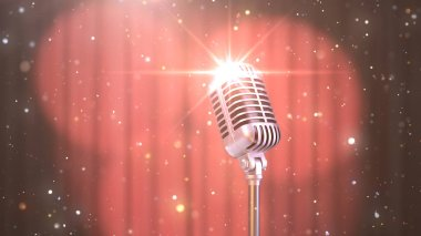 Karaoke Background with a Red Curtain, Spotlights and Retro Microphone, 3d Render
