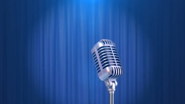 Retro Microphone and a Blue Curtain Background, 3d Render