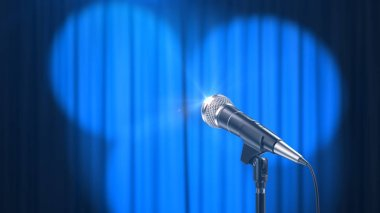Microphone and a Blue Curtain with Spotlights, 3d Render