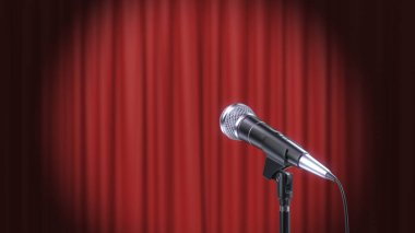 Microphone and Red Curtains Background, 3d Render