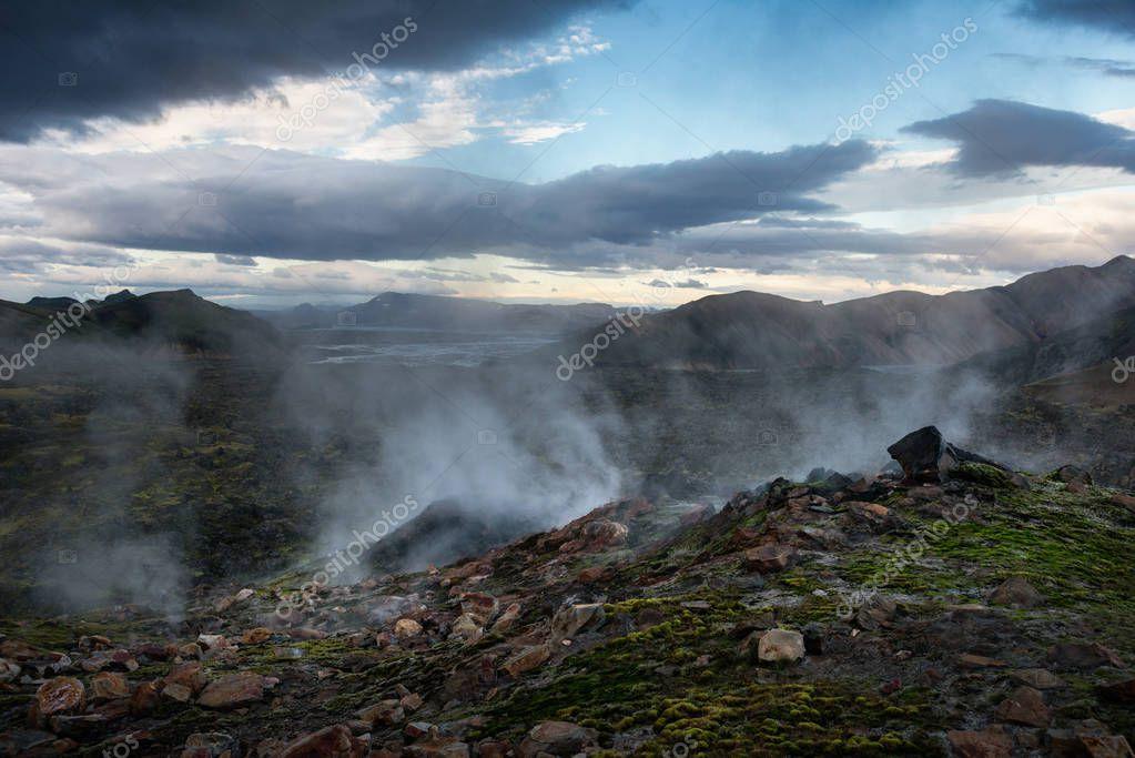 Smoking fumaroles in Landmannalaugar, Iceland