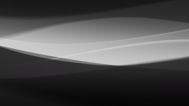 Die abstrakte Animation schloss sich nahtlos in Grautönen an. mit digitalen Wellen, Linien und Lichteffekten. Schwarz-weiß 4k dekoratives Video für den Hintergrund. leichte Körnung.
