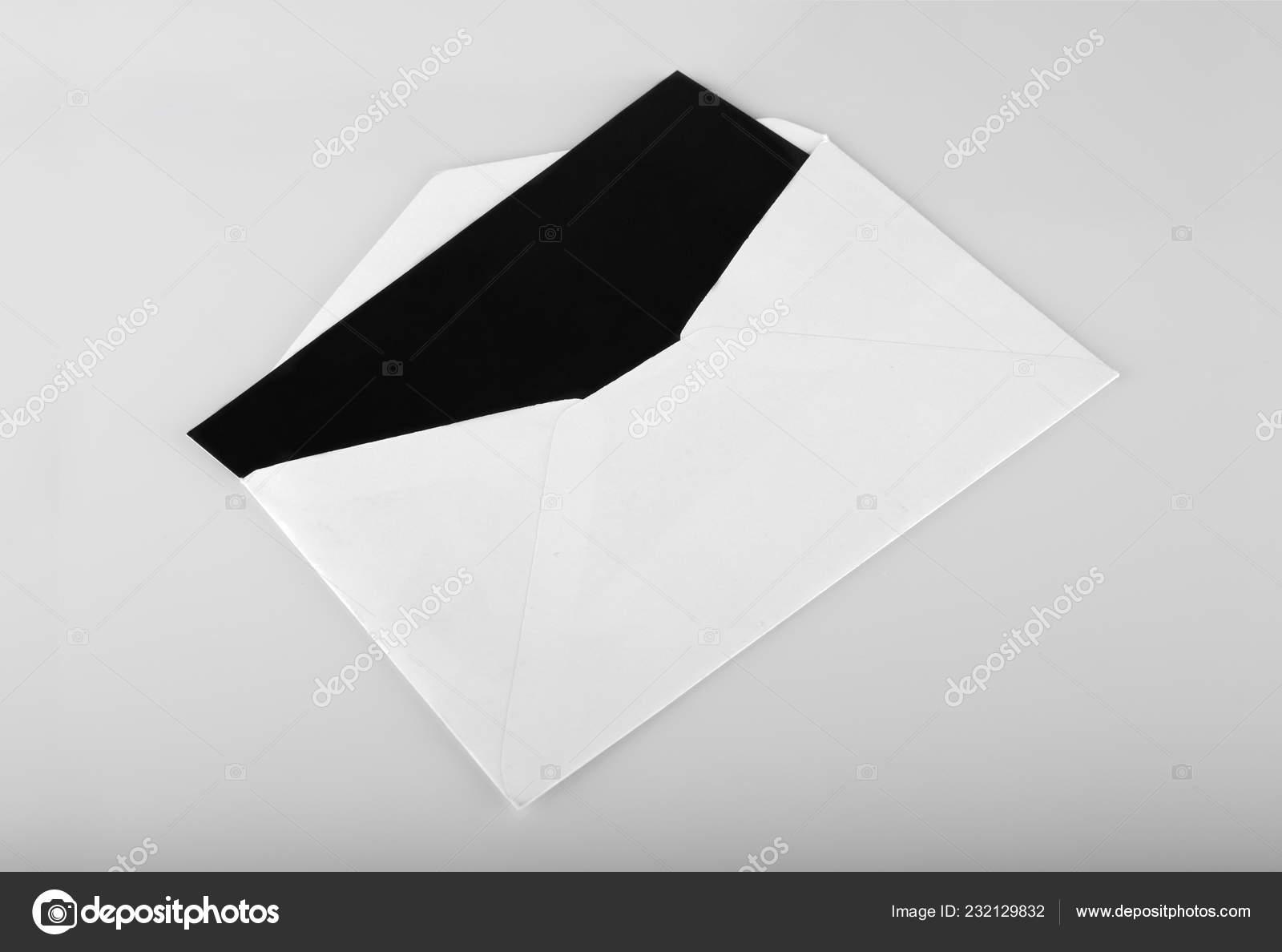 Blank Black Invitation Card White Envelope Mockup Stock