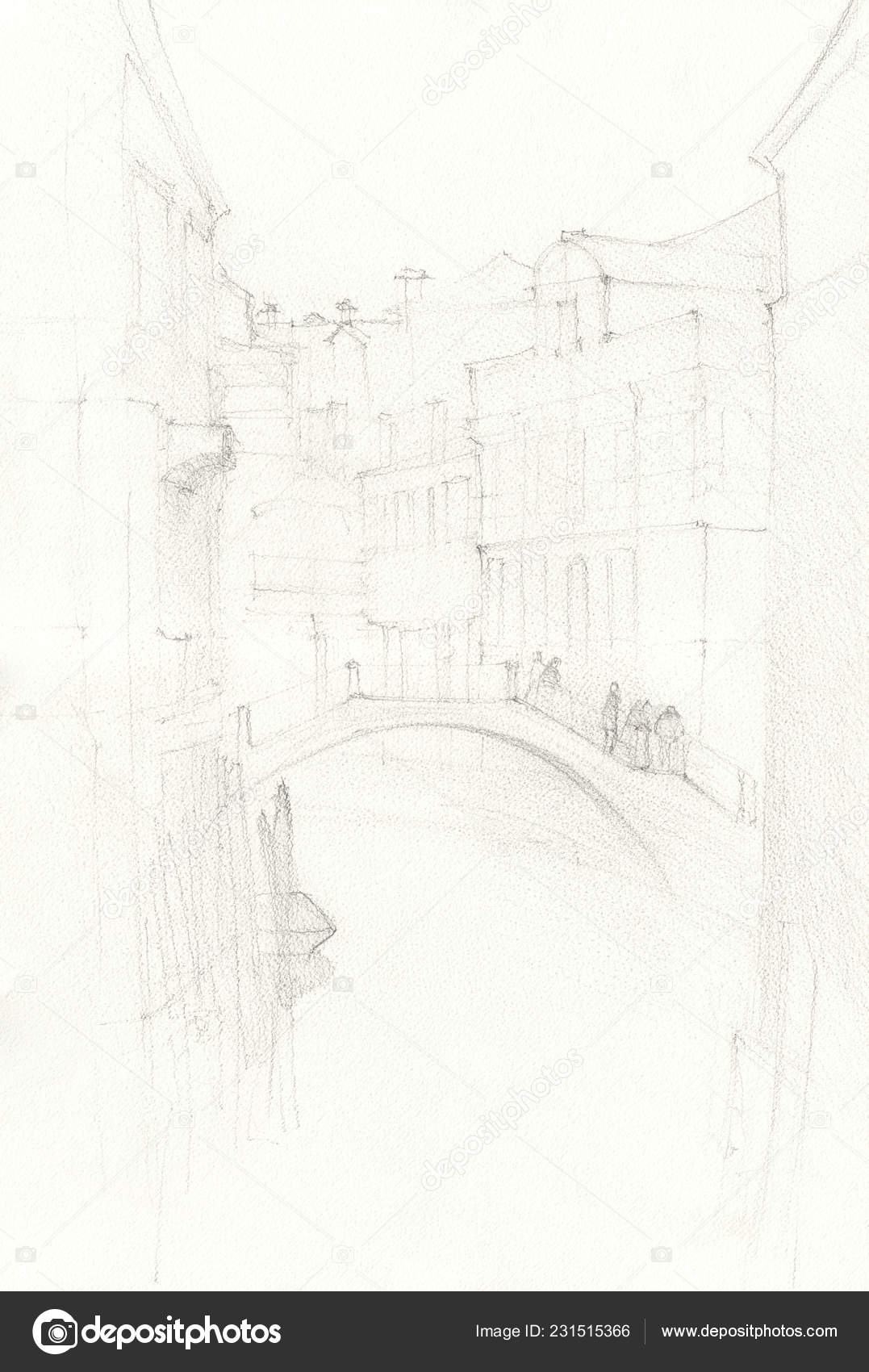 Venice city hand drawn pencil sketch illustration grunge