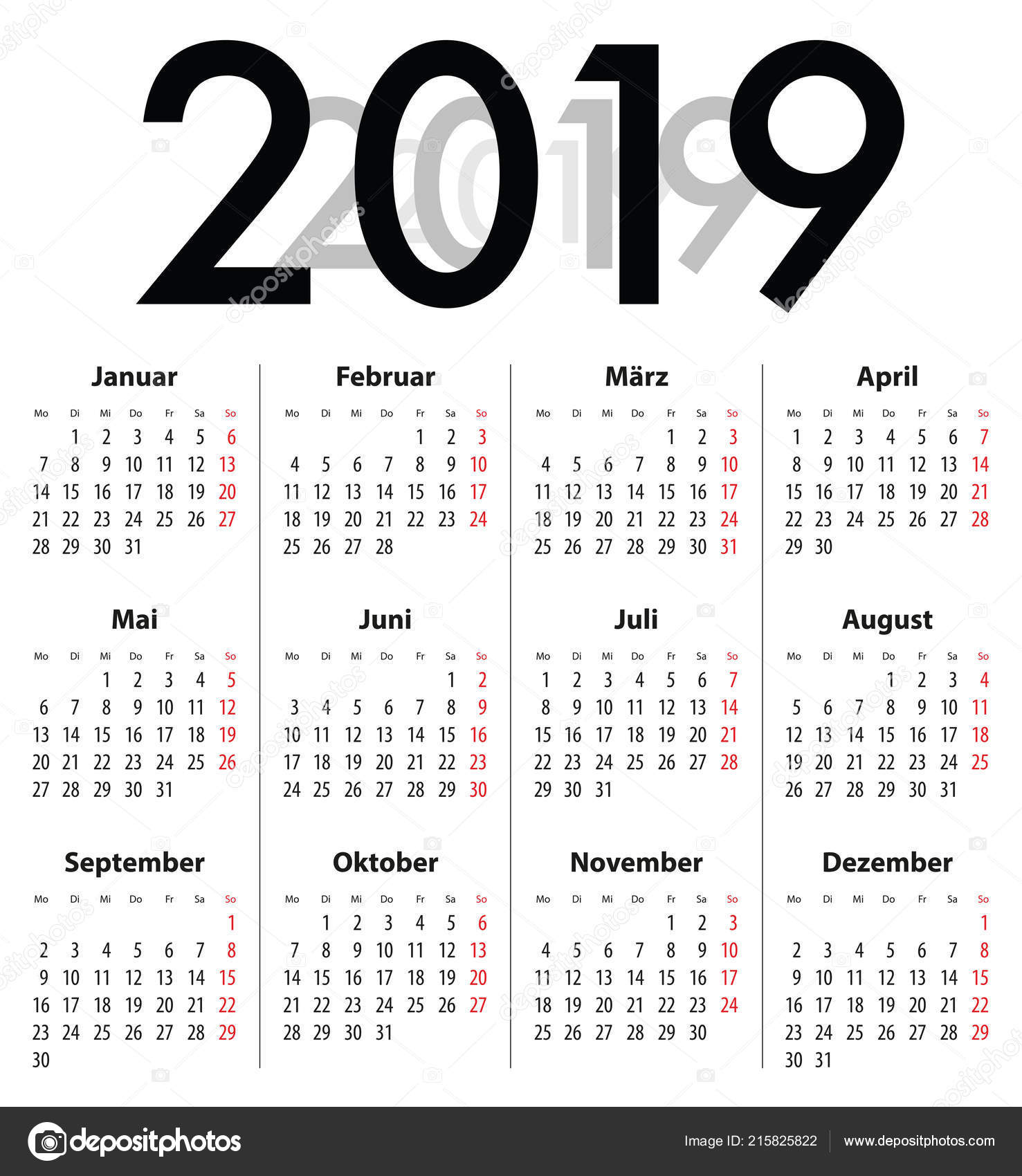 Best Calendars 2019 German Deutsch Calendar Grid Regular Digits 2019 Best Calendar