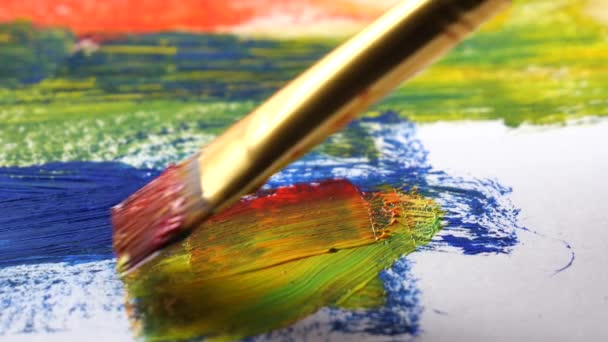 Brushes and paints for drawing on the background of the palette
