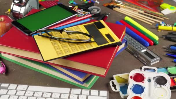 Back to school. School supplies for classes and lessons.