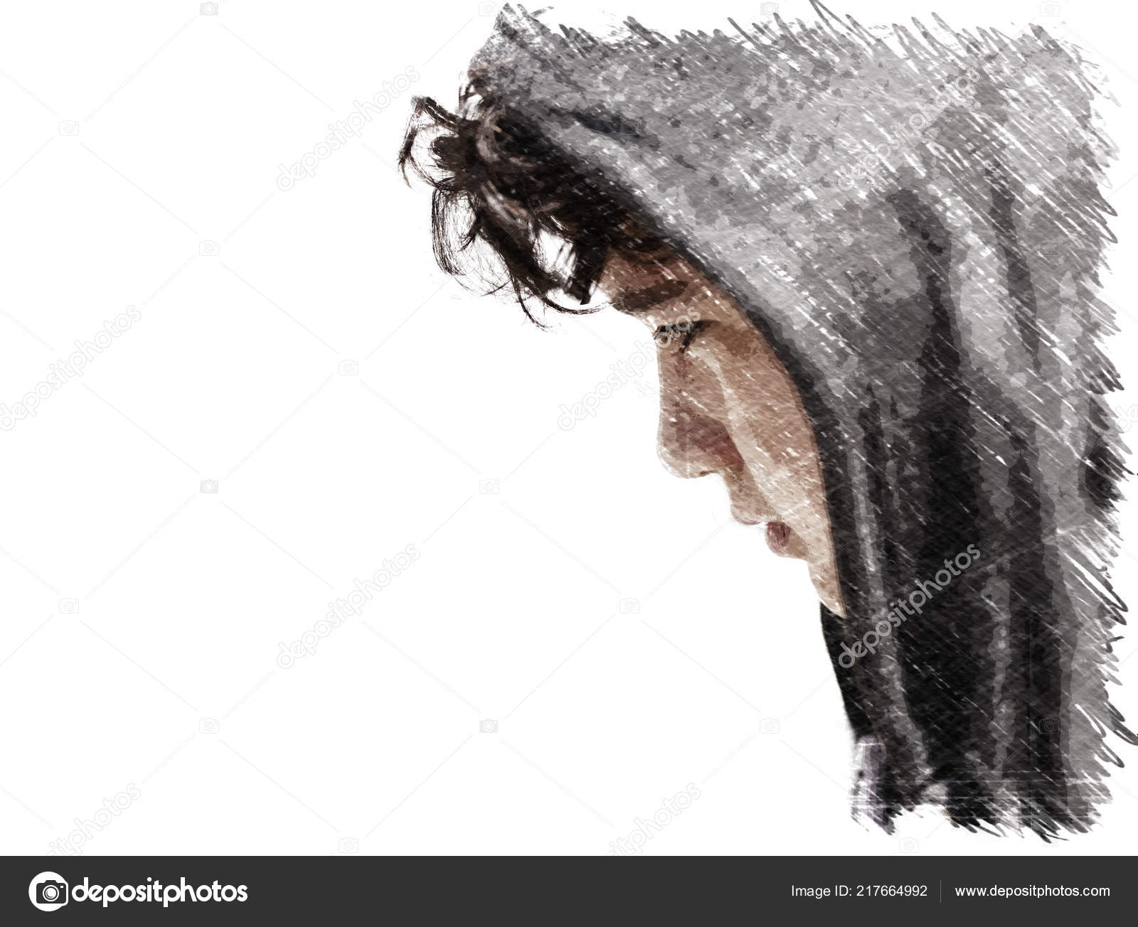 Sad troubled school boy teenager wearing a hoodie posing and thinking in his own thoughts close up charcoal sketch with copy space for writing photo by