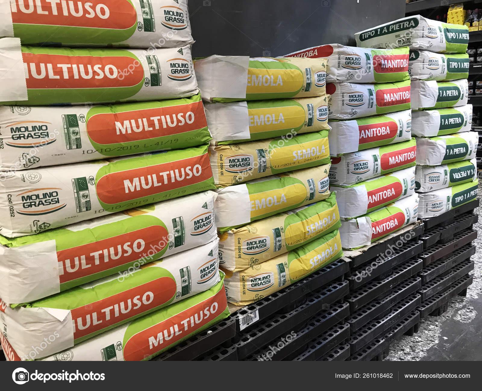 Sacks Italian Wheat Flour Stacks Wholesale Supermarket