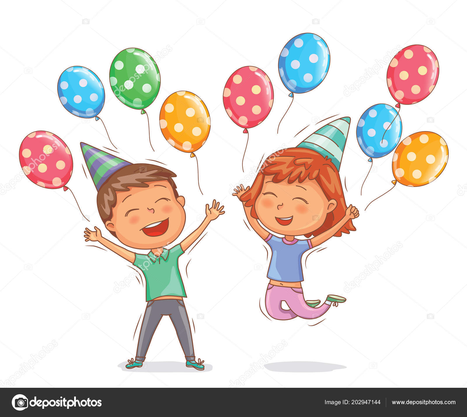 Bright Cute Boy Girl Happy Birthday Balls Stock Vector Pinkkoala