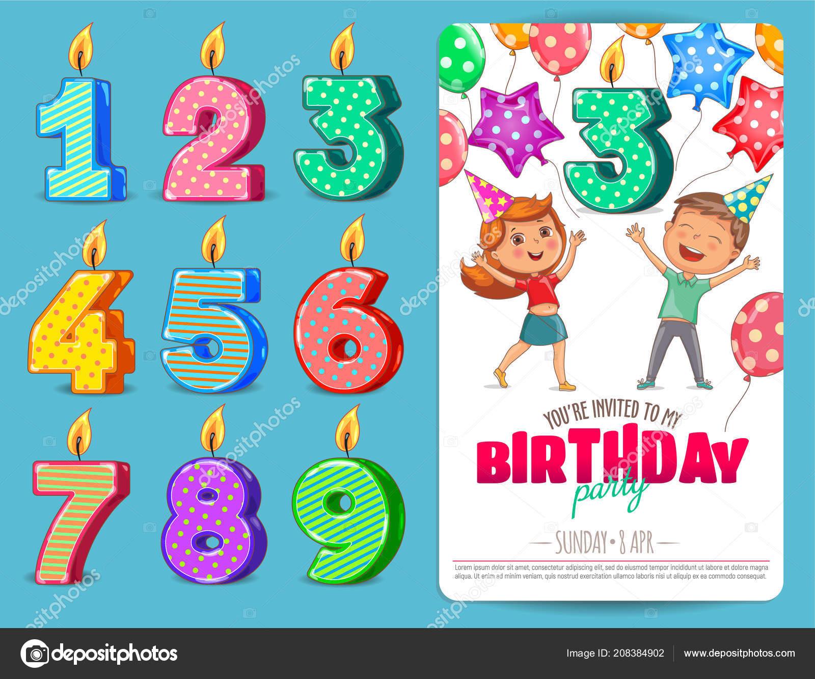 Vela Cumpleaños Número Con Plantilla Tarjeta Invitación Los