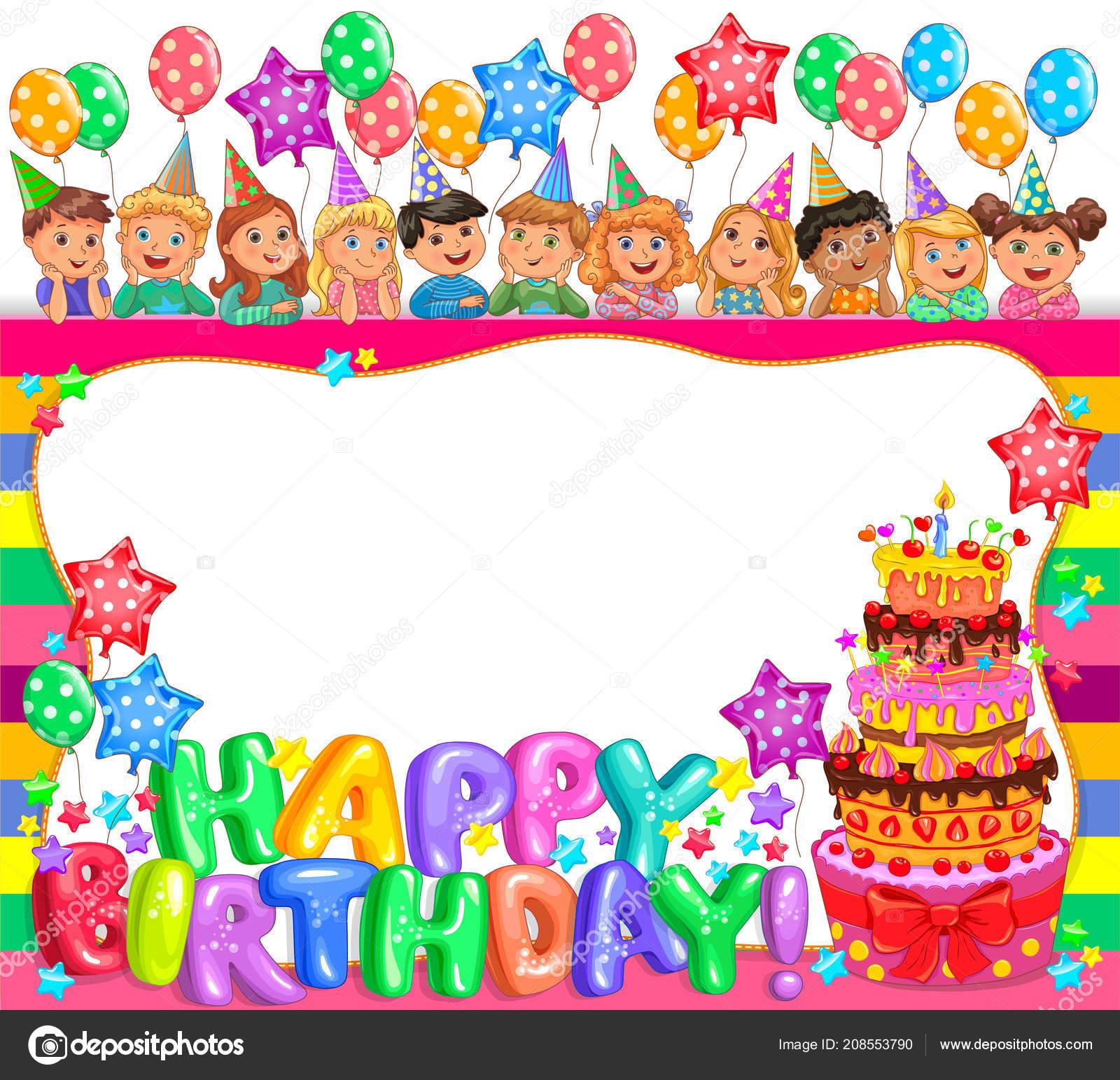 Geburtstag Cool Rahmen Mit Kuchen Und Niedlichen Kinder