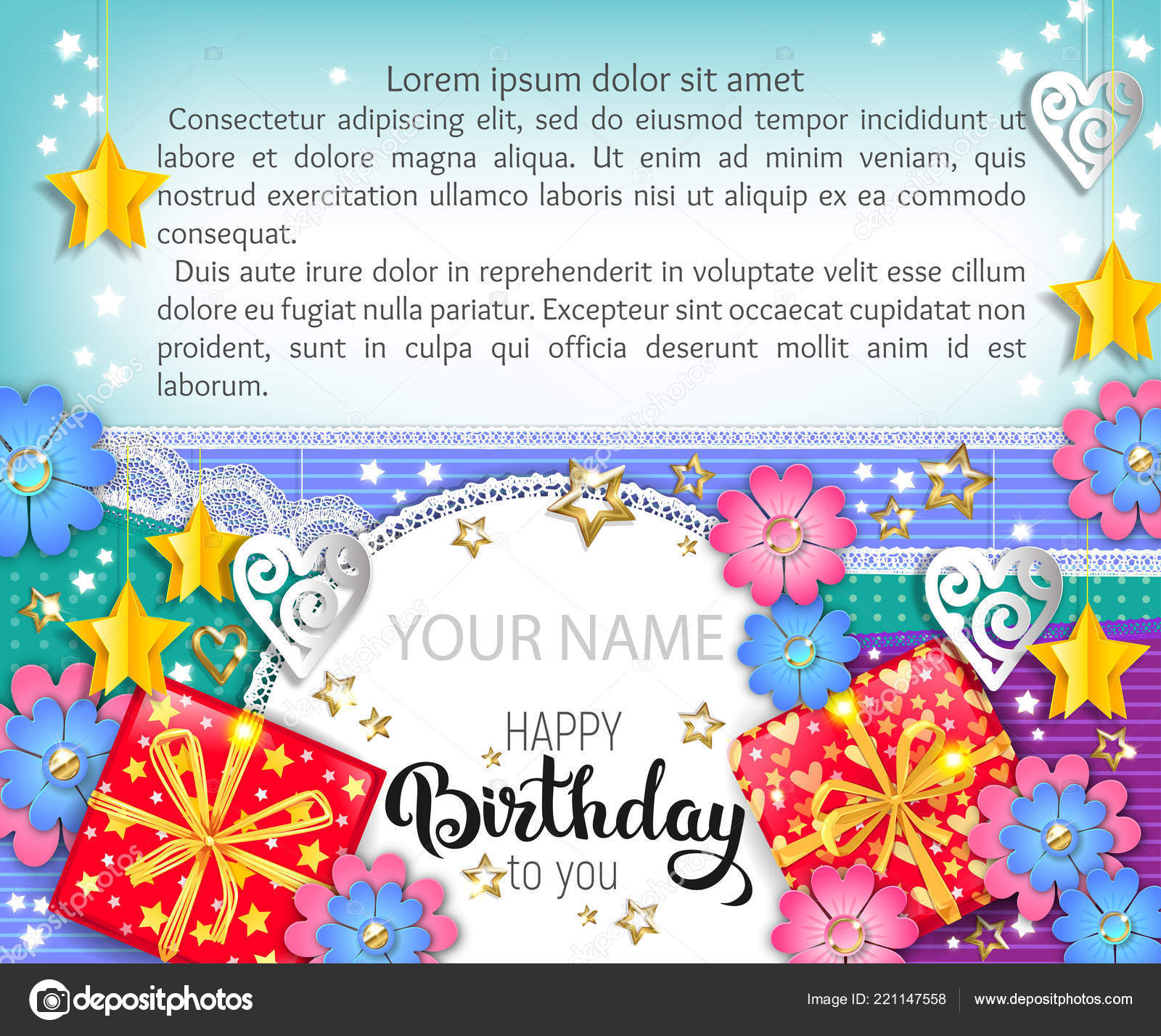 happy birthday bright banner your name text stock vector