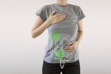 composite image of infected intestine highlighted green on woman