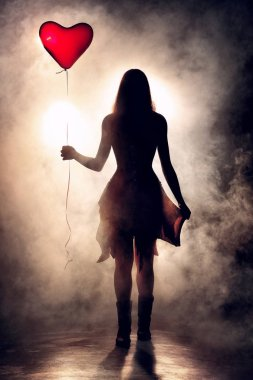 Young woman walking with a heart shaped balloon against misty backlit scene. Conceptual image of loneliness or valentine's day