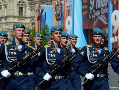 Cadets Ryazan airborne command school named after V. Margelov during a parade on red square in honor of Victory Day