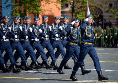 Cadets of the Air Force Academy during the parade on Red Square in honor of Victory Day.
