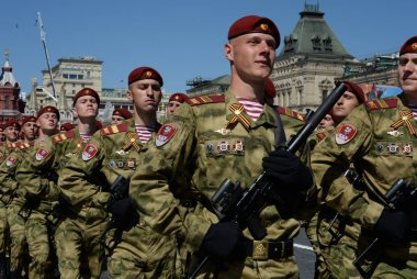 Soldiers of a separate division named after Dzerzhinsky national guard troops at the parade on red square in honor of Victory day.