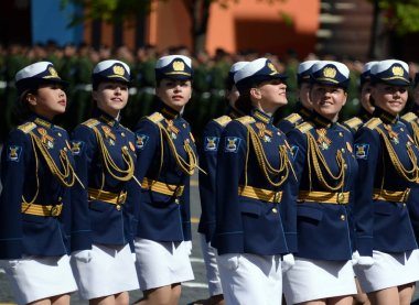 Girls-cadets of the military academy during the parade on Red Square in honor of the Victory Day.