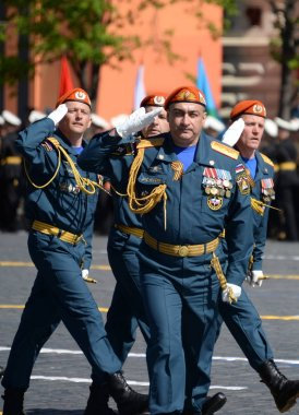 Head of the Civil Defense Academy of the Ministry of Emergency Situations of Russia Major-General Victor Panchenkov during the parade on Red Square.
