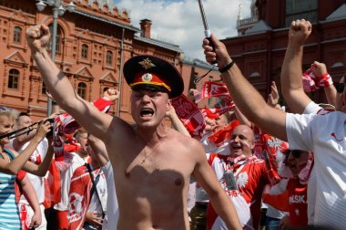Polish football fans at the Manezhnaya Square during the World Cup. FIFA world cup, Mundial 2018.