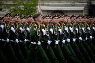 Cadets of the Military University of the Ministry of Defense of Russia during the dress rehearsal of the parade on Red Square.