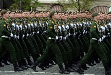 Cadets of the Serpukhov branch of the military academy of the Strategic Missile Forces during the dress rehearsal of the parade.