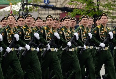 Cadets of the Military Academy of Radiation, Chemical and Biological Defense at the dress rehearsal of the Victory Parade.