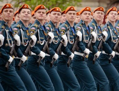 Cadets of the Civil Defense Academy of the Ministry of Emergency Situations of Russia during the dress rehearsal of the parade.